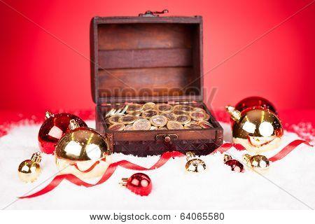 Euro Coins In Treasure Box