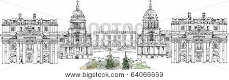 Greenwich view, Royal Navy collage, Royal chapel and Queen s palace, London, Sketch collection