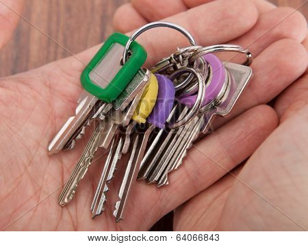 Hand Carrying Bunch Of Keys