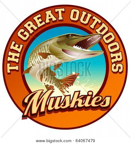 Muskie fishing illustration label design