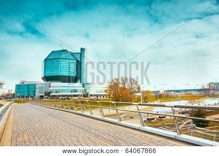 Building Of National Library Of Belarus In Minsk