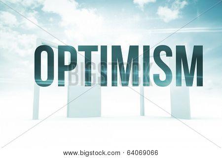 The word optimism against opening doors in sky