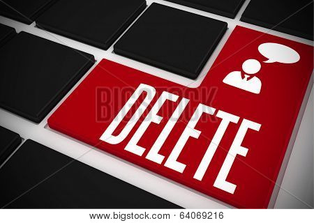 The word delete and businessman and speech bubble on black keyboard with red key