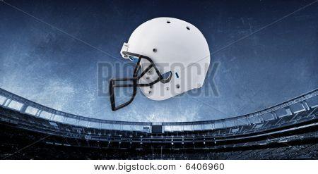 Football Stadium Background with Helmet