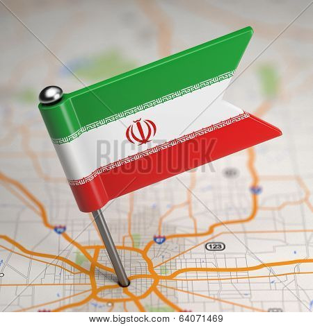 Iran Small Flag on a Map Background.