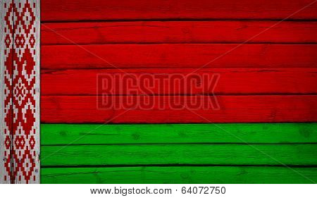Belarus flag painted on wooden boards