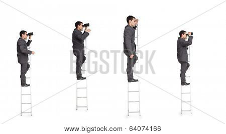 Multiple image of businessman on ladder on white background