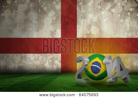 Brazil 2014 against england flag in grunge effect