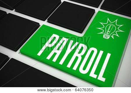 The word payroll and idea and innovation graphic on black keyboard with green key