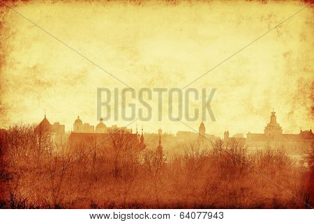 Cityscape of Vilnius at sunset.Grunge and retro style.