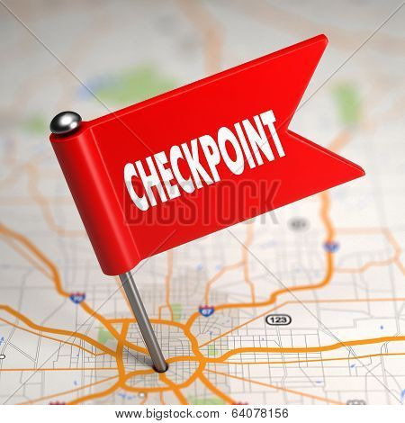 Checkpoint - Small Flag on a Map Background.