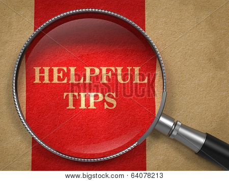 Helpful Tips. Magnifying Glass on Old Paper.