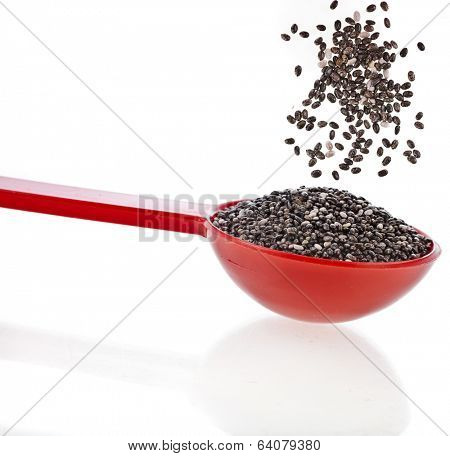 chia seeds in red scoop close up isolated on white