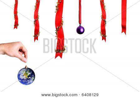 Christmas Decoration Over White Background