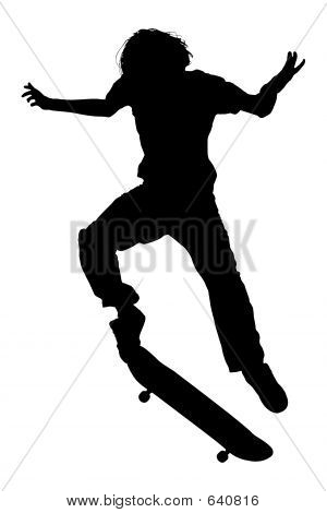 Silhouette With Clipping Path Of Teen Boy On Skateboard Jumping