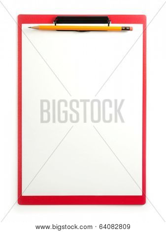 Red clip board with yellow pencil, isolated on white.