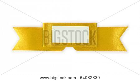 Distinctive gold ribbon emblem or ornament with blank paper message area. Isolated on white.