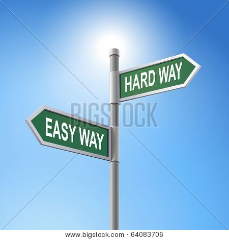3D Road Sign Saying Easy Way And Hard Way
