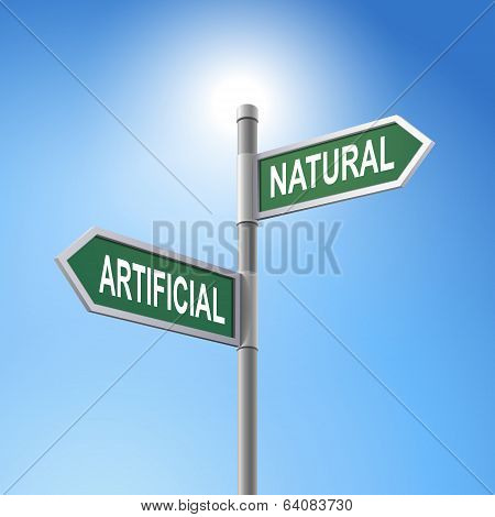 3D Road Sign Saying Artificial And Natural
