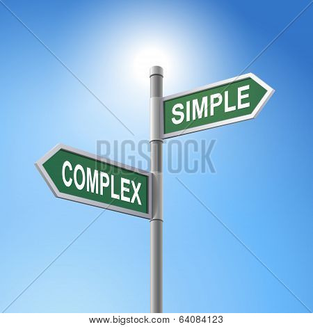 3D Road Sign Saying Complex And Simple
