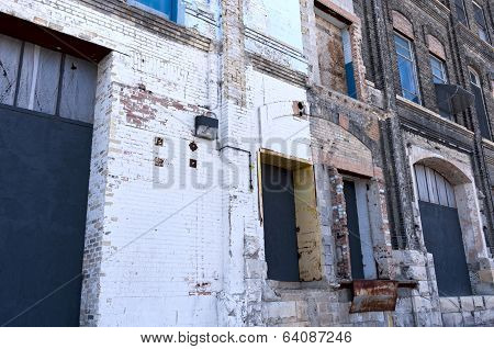 Dilapidated Dock Bays Of Vacant Warehouse