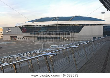 Minsk, Bealarus - April, 26: Velodrome Sport Venue Shot from Stairs of Minsk -Arena Ice-Hockey Sport