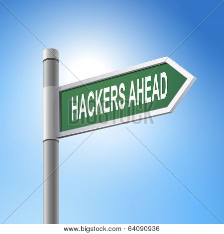 3D Road Sign Saying Hackers Ahead
