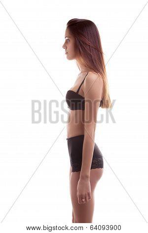 Slim Brunette Model Snapshot On White