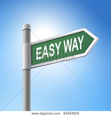3D Road Sign Saying Easy Way