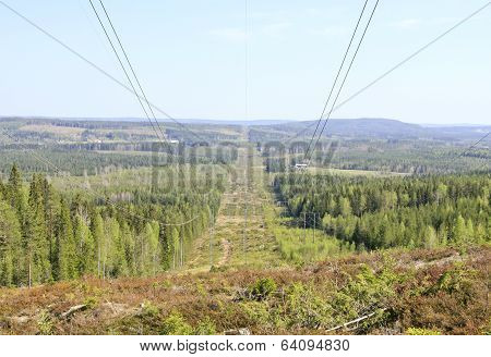 Electrical lines in rural area.