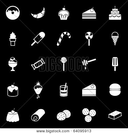 Dessert Icons On Black Background