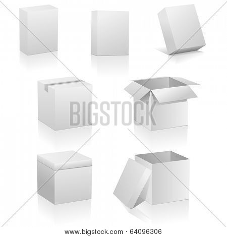 Set of blank boxes isolated on white background. Three kinds of boxes is represented: software box, traditional packing box and retail or present box.
