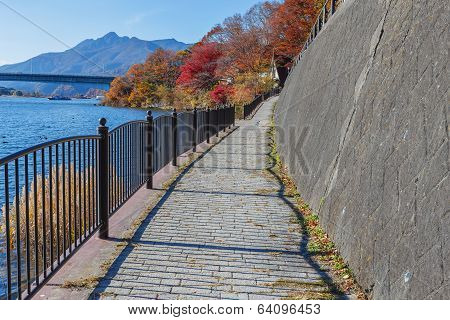 Walking course at lake Kawaguchiko in Japan