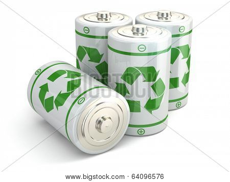 Battery green recycling concept. Batteries on white isolated background. 3d