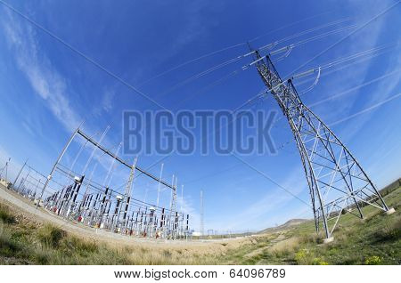 High tension electrical tower and high voltage substation.