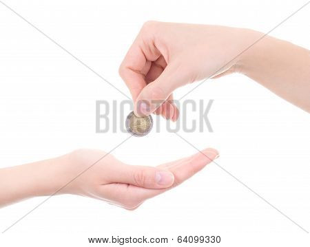 Empty Female Palm And Hand Holding Euro Coin Isolated On White
