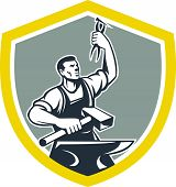 pic of anvil  - Illustration of a blacksmith worker with sledgehammer holding up pliers with anvil set inside shield crest shape done in retro style - JPG