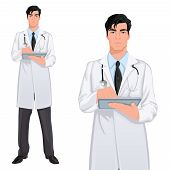 foto of coat tie  - Medical professional handsome young doctor assistant standing in white lab coat with touch screen tablet PC vector illustration - JPG