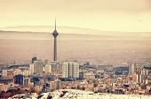 stock photo of tehran  - Tehran skyline with panoramic view of the city - JPG