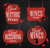 stock photo of keg  - Cask drawn pour wine with the inscription good mature wines with splashes and prints of wine - JPG