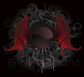 stock photo of bat wings  - Gothic round banner with artistic painted red dragon wings on a black background - JPG
