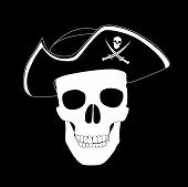 stock photo of pirate hat  - Pirate skull black and white pirate skull in cocked hat - JPG