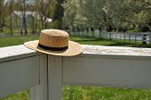 picture of dogwood  - Amish straw hat laying on a white fence with Dogwood trees in the back - JPG