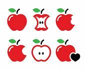 stock photo of love bite  - Vector icons set of apples isolated on white - JPG