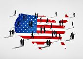 stock photo of united we stand  - American flag and a group of business people - JPG