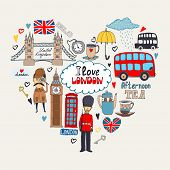 image of beefeater  - London in my Heart or I Love London card design with landmark icons arranged in a heart shape including a beefeater  Sherlock Holmes Big Ben Tower Bridge bus and London taxi cab - JPG