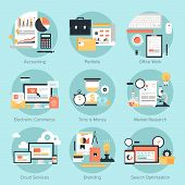 foto of e-business  - Vector set of flat and colorful concepts on business and finance electronic commerce marketing office branding cloud services and SEO theme  - JPG