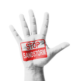 foto of sandstorms  - Open hand raised Stop Sandstorm sign painted multi purpose concept  - JPG