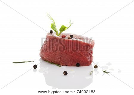 Big Raw Steak Isolated.
