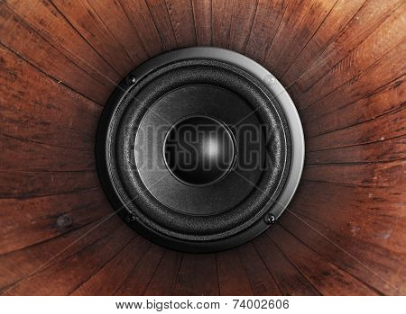 Audio Music Speaker On Wood Background